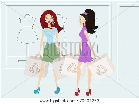 Cartoon Shopping Girls With Reusable Shopping Bags