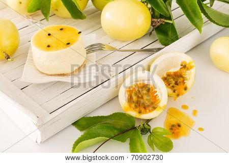 Passion Fruit Dessert With Freshly Cut Maracuja Or Passion Fruit