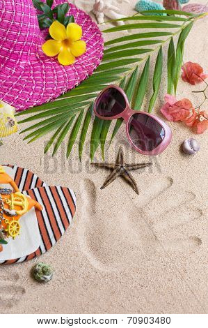 Sandals, Heat And Sunglasses On The Sand. Summer Beach Concept