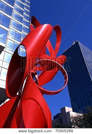 Venture sculpture outside an office building, Dallas.