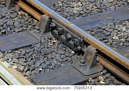 Railway track joint detail.