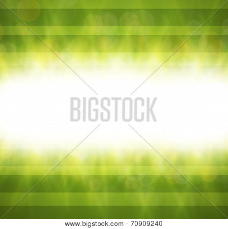 Abstract green blurry background with overlying semi transparent circles, light effects and sun burs