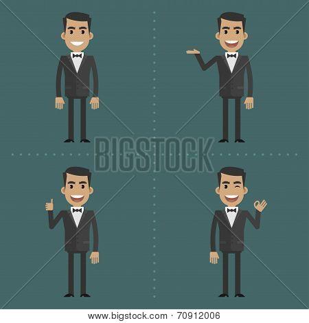 Adult waiter shows gestures