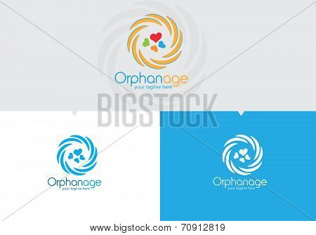 Orphane based vector logo template. Flower shaped. Vector editable