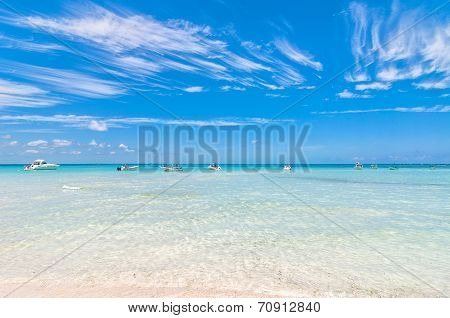 tropical sea and Playa del Norte beach in Isla Mujeres