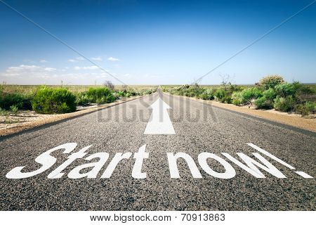An image of a road to the horizon with text start now!