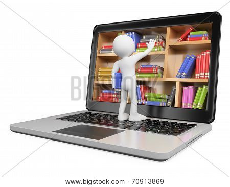3D White People. New Technologies. Digital Library Concept. Laptop