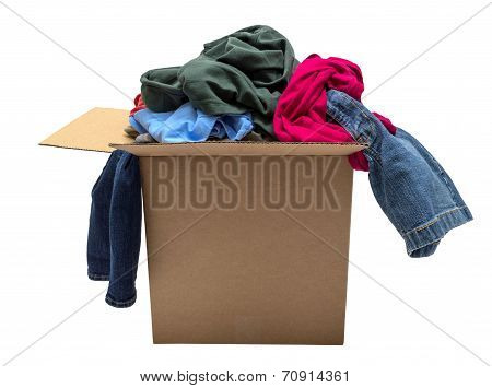 Постер, плакат: Box Of Clothing Isolated On White, холст на подрамнике