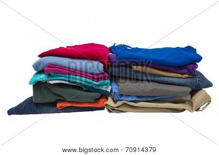 Two Stacks Of Folded Clothes Isolated