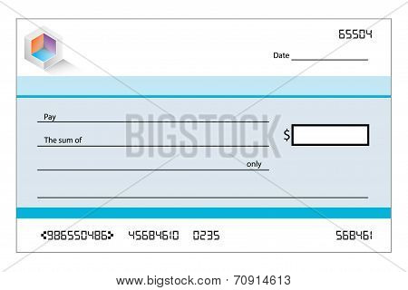 Illustration Of A Blank Bank Cheque