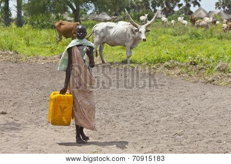 PANWEL, SOUTH SUDAN-JUNE 23 2012: Unidentified woman carries a large water jug to get water from the Nile in South Sudan