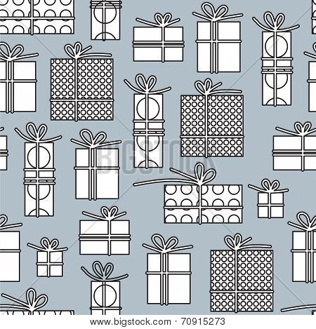 Seamless Pattern With Gift Boxes Monochrome