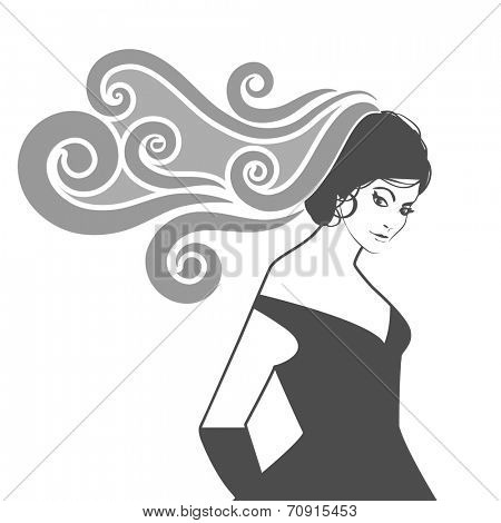 Elegant woman with flowing hair or veil