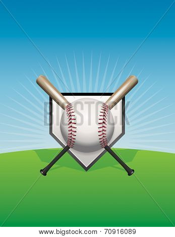 Baseball And Bats Background Illustration
