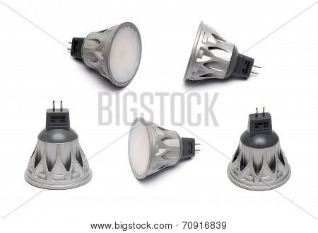 Closeup Of Newest Led Light Bulb Isolated On White