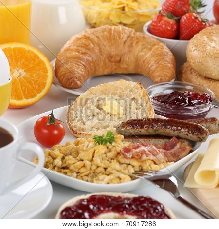 Big Breakfast With Orange Juice, Cheese, Fruits And Scrambled Eggs