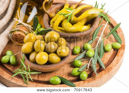 Olives And Yellow Chili Pepper