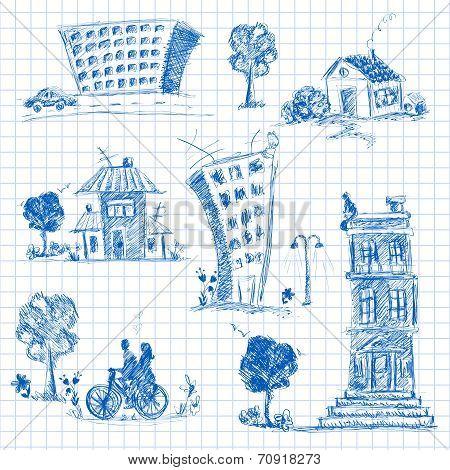 City doodle set