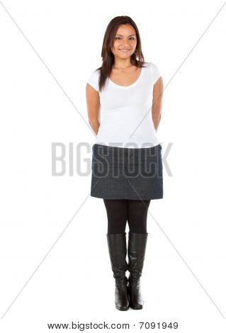 Woman Standing Isolated