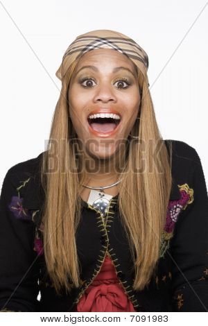 Portrait Of Happy Young Woman. Isolated.