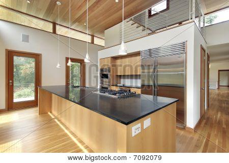 Kitchen With Black Granite Island