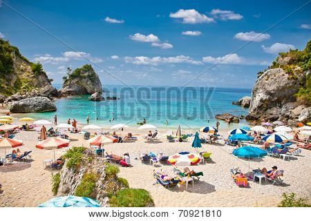 PARGA,GREECE-MAY 28,2014. Piso Kryoneri beach in Parga, Greece.The coasts of Parga are one of the best part by the beaches of Ionian Sea.