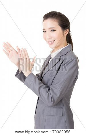 Asian business woman give you a hand, close up portrait on white background.