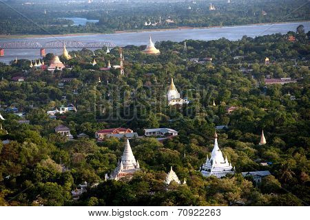 View Of Ayeyarwady River From Sagaing Hill,sagaing Division,Myanmar.