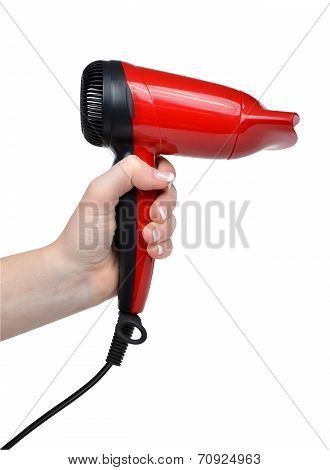 Compact red hairdryer in hand