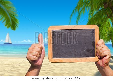 Hands Hold A Slate Blackboard With Advertising Space
