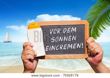 Text Message - Vor Dem Sonnen Eincremen On A Slate
