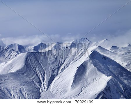 Snowy Mountains In Mist