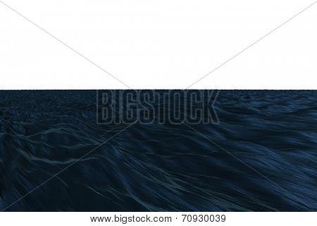 Digitally generated graphic Dark blue ocean on white background