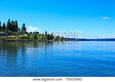 Steilacoom Beach And Ferry. Washington State