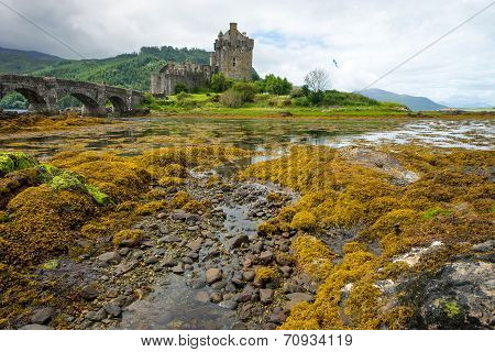Eilean Donan castle on a rainy day