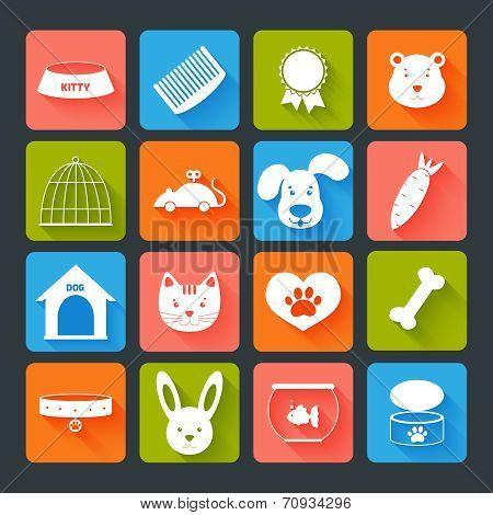 Pets Icons Set Flat