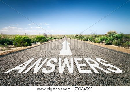 An image of a road to the horizon with text answers