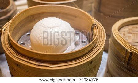 Hot Steamed Bun In Bamboo Steamer