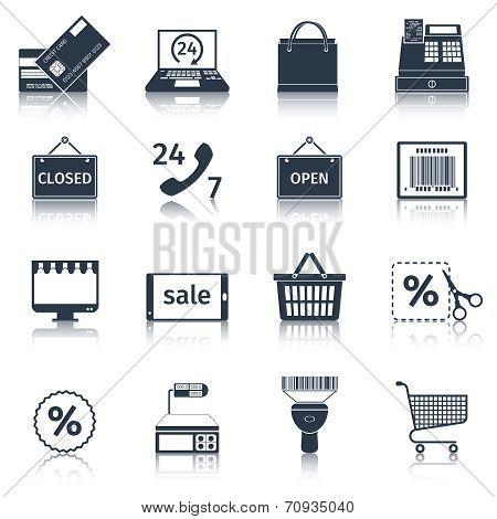 E-commerce icons set black