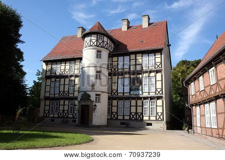 SALZWEDEL, GERMANY - AUGUST 27, 2014: Johann-Friedrich-Danneil-Museum, built in 1578 as seat of the priory, later owned by family von Schulenburg. Municipal museum of Salzwedel.