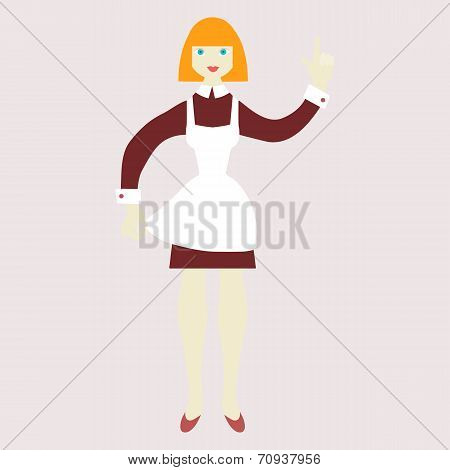 Vector illustration of a happy housewife.  Flat design.