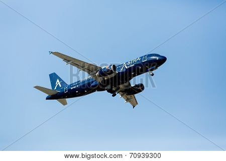A Plane From The Airline Astra Takes Off In Greece. Astra Airlines Owns Two Bae-146-300 Aircrafts. T
