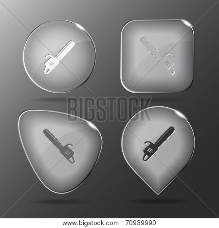Gasoline-powered saw. Glass buttons. Vector illustration.