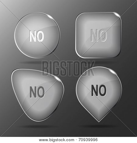 No. Glass buttons. Vector illustration.