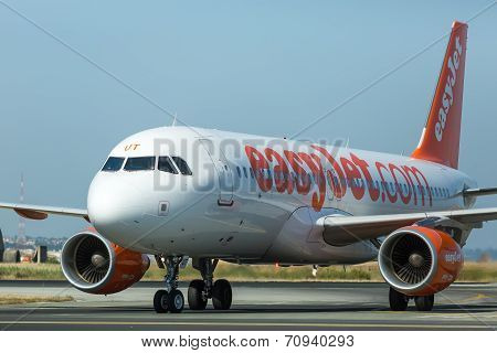 Easyjet Airline Takes Off From International Airport 'makedonia', Greece. Easyjet Is The Second Larg