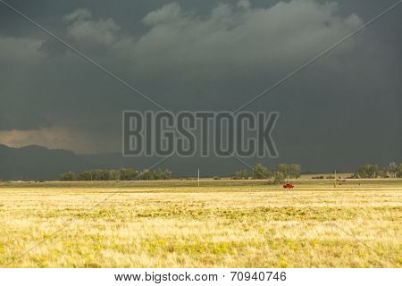 Sun Shining On Grassland Under Storm And Rain