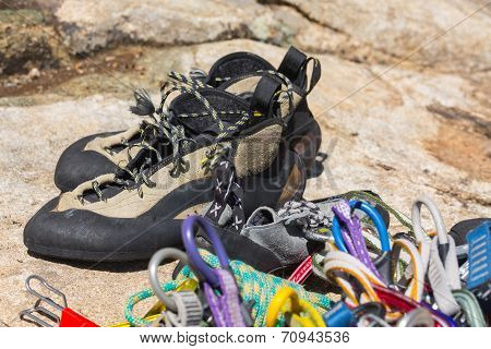 Close Up Of Rubber Climbing Shoe On Rock