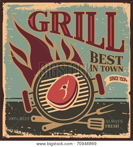 Grill vintage tin sign