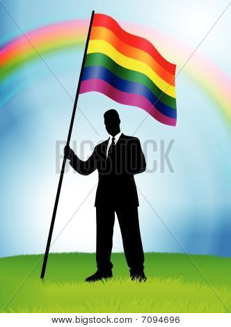 Businessman Leader Holding Gay Flag Original Vector Illustration