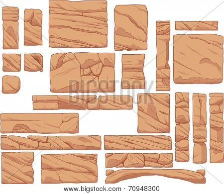Rocky platforms. Vector clip art illustration with simple gradients. Each in a separate layer.